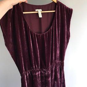 J Crew Burgundy/purple velvet dress 6